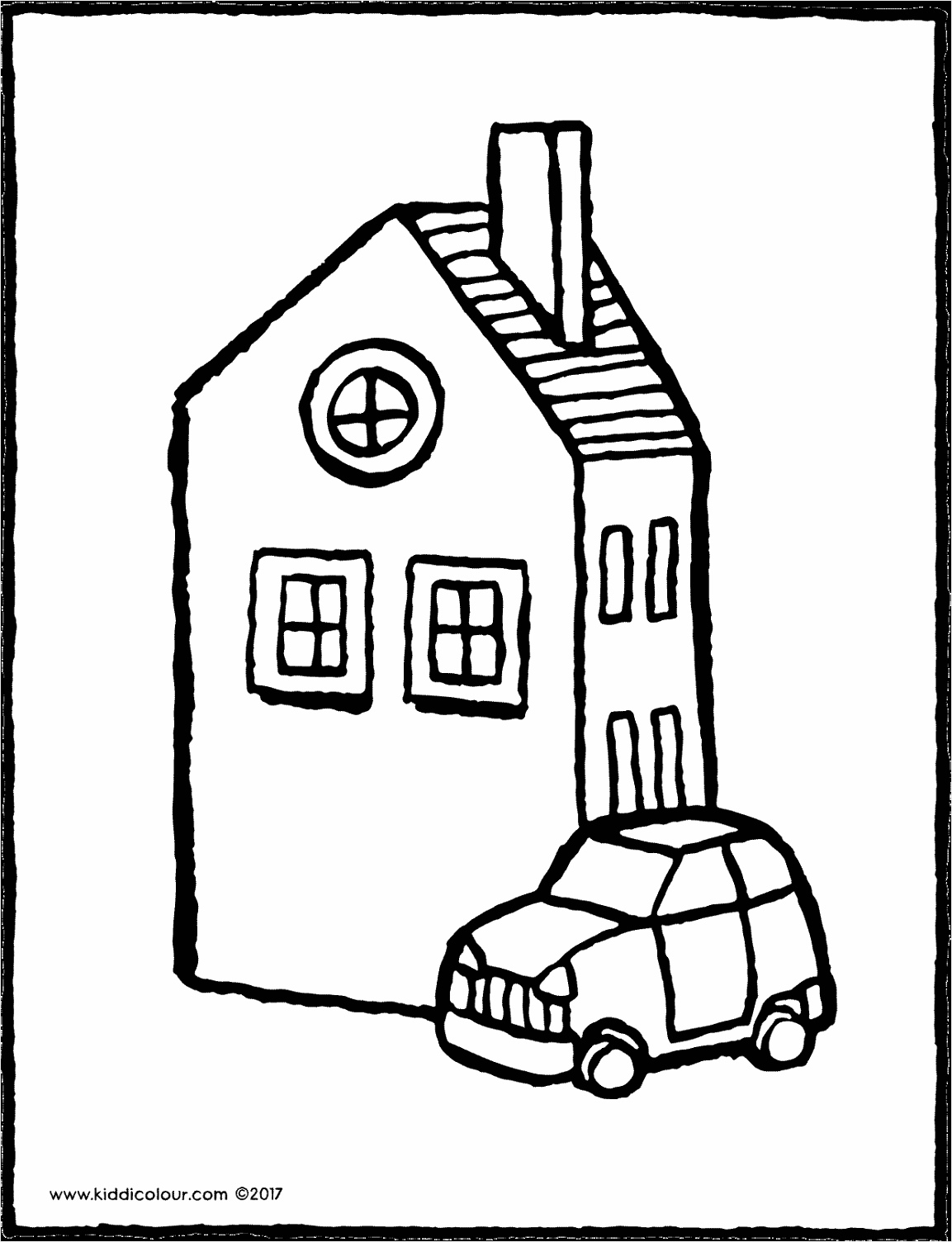 huis met auto kleurplaat kleurprent tekening 02V ujrai
