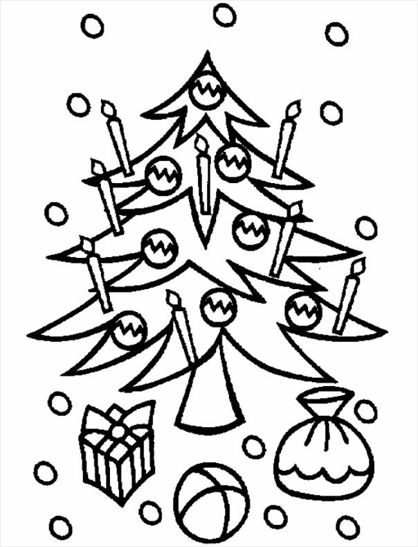 kerst kleurplaat boom met kaarsen iiwep