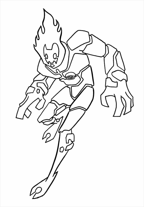 Heatblast e of the Earliest Alien Form in Ben 10 Coloring Page orpia