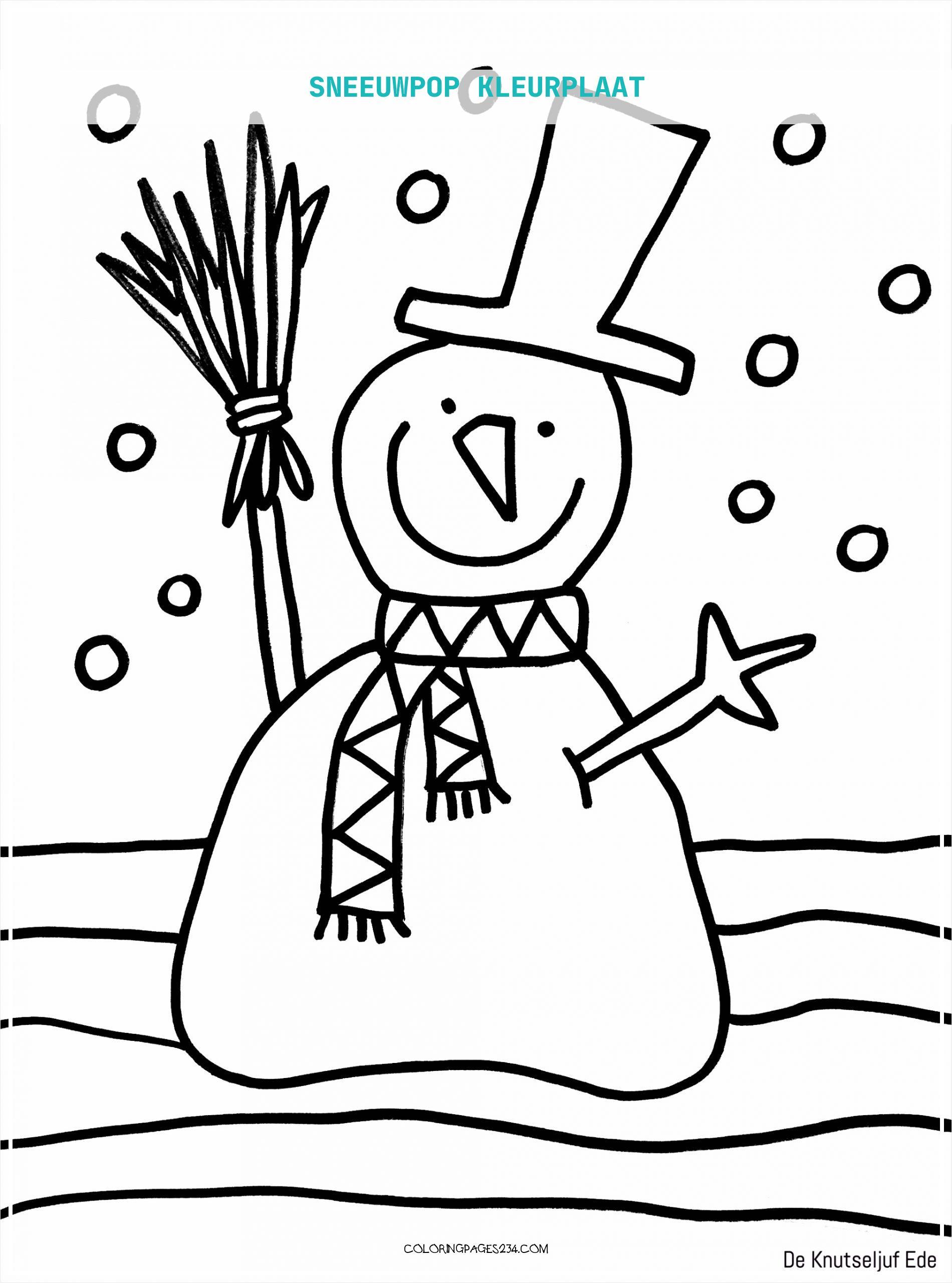 sneeuwpop kleurplaat kleurplaten234
