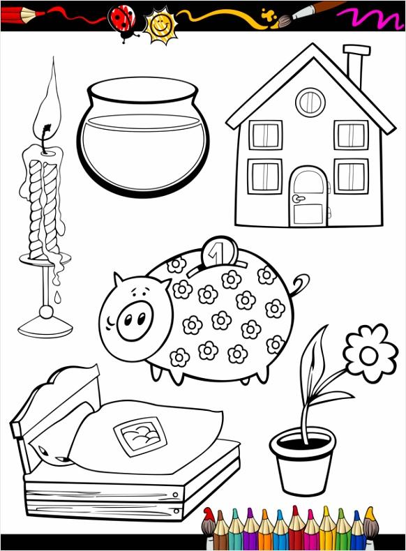 cartoon huis objecten kleurplaat 5272 ryour