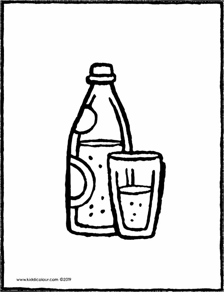 een fles bruiswater met een glas kleurplaat kleurprent tekening 01V 794x1024 uotaw