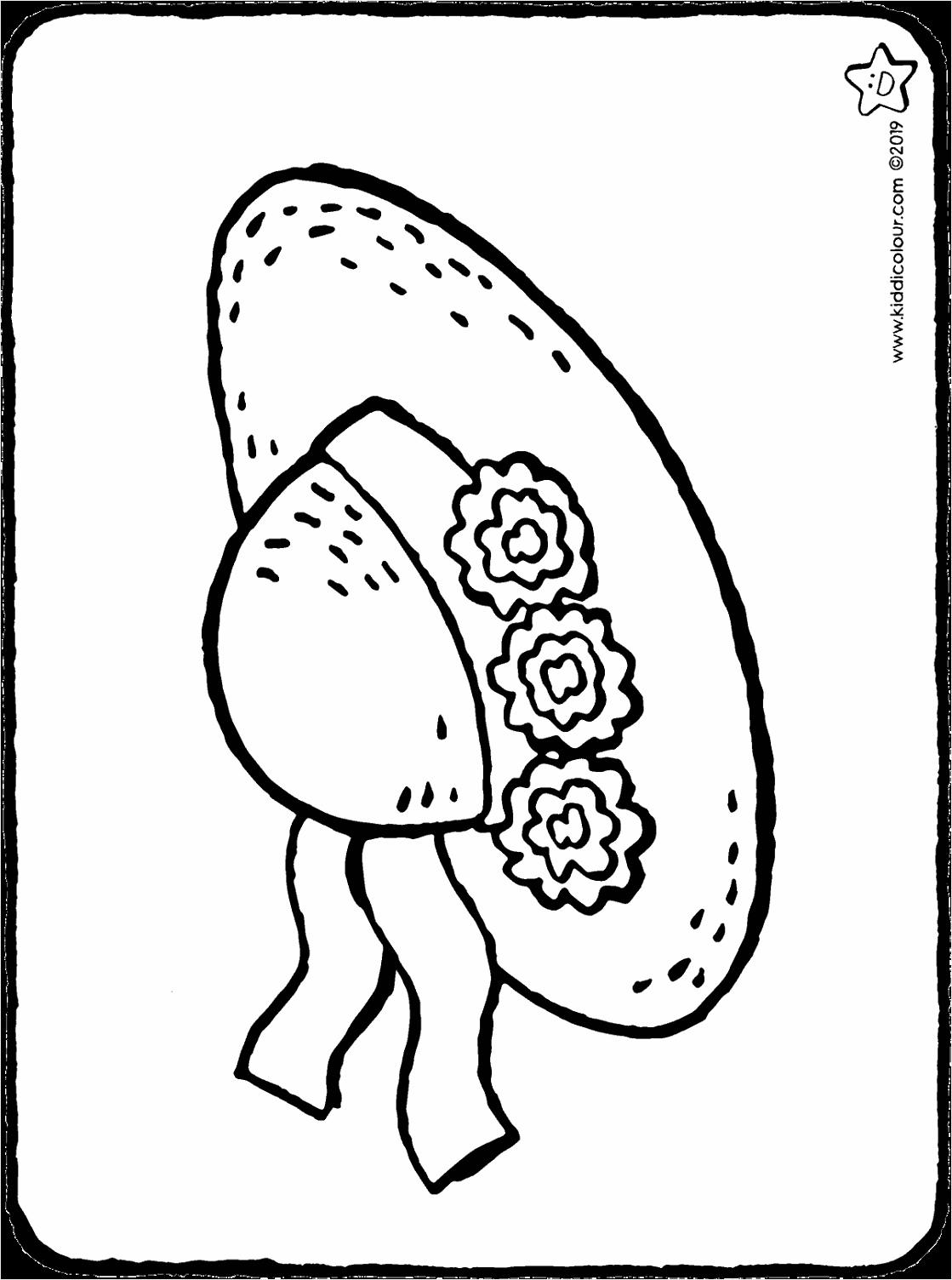 zomerhoed met bloemen kleurplaat kleurprent tekening 01H oiipu