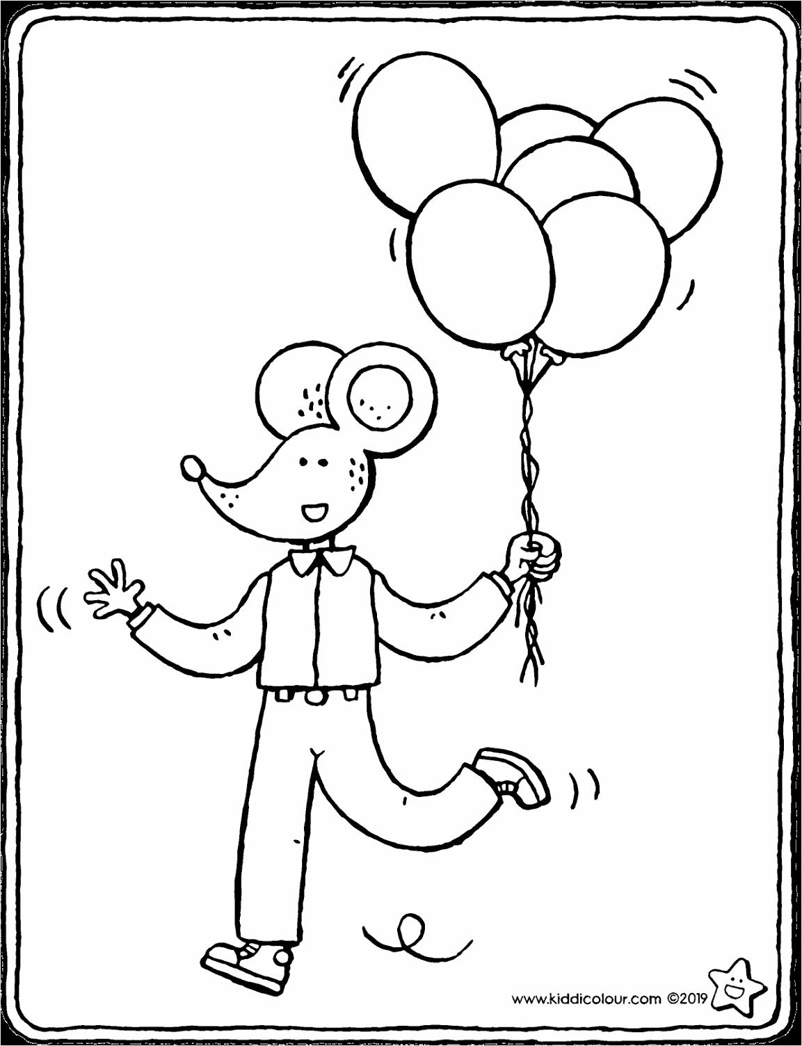 Lowie met ballonnen kleurplaat kleurprent tekening 01V wiuhi
