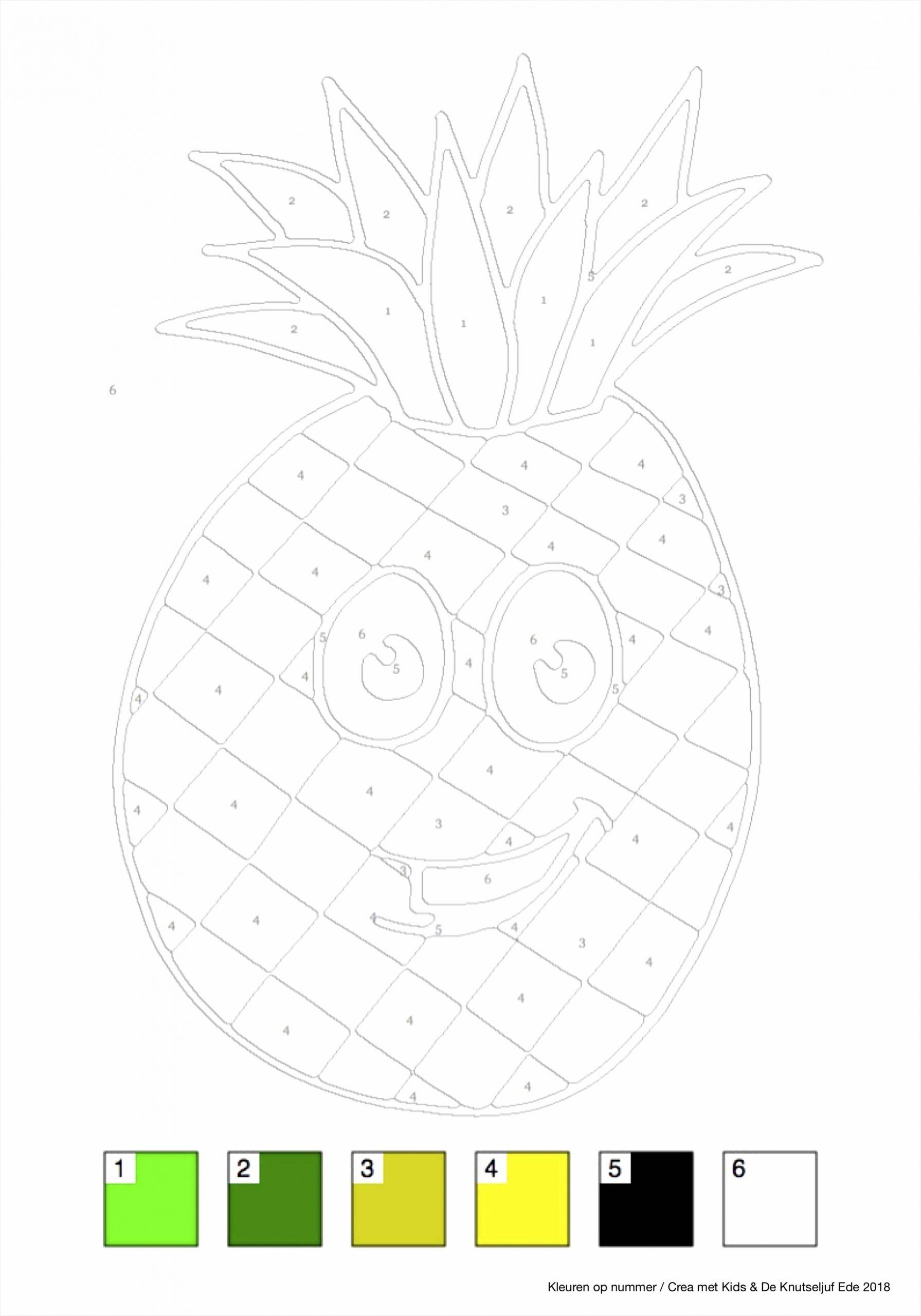 kleuren op nummer fruit ananas irdtu