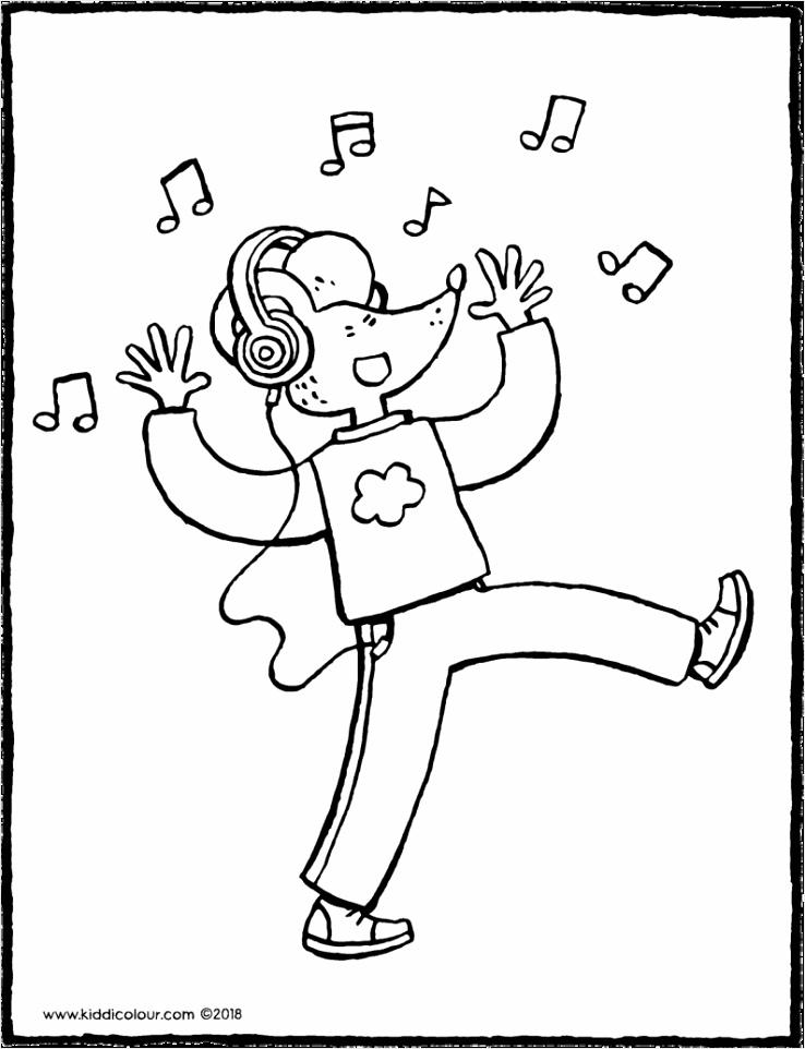 Lowie met hoofdtelefoon tekening kleurplaat kleurprent 01V 794x1024 otuuu