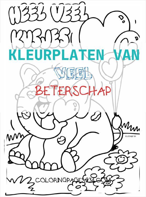 Kleurplaat Olifantje heel veel kusjes Kleurplaten kleurplaten van veel beterschap, source:kleurplaten.nl