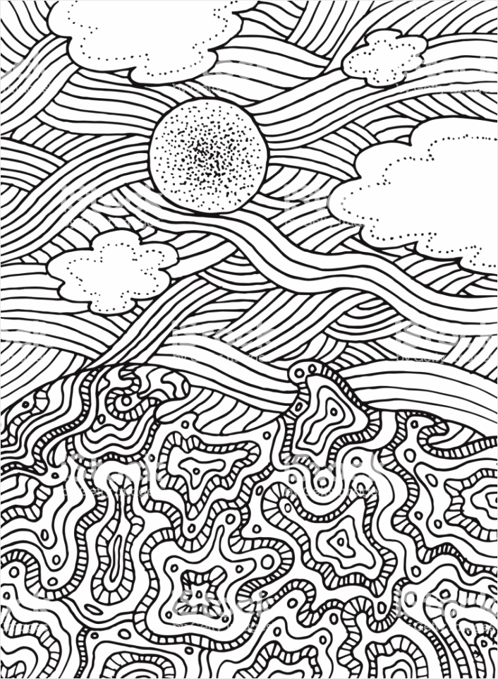 zomer zee en hemel met wolken en zon vector hand rokken lijn kunst voor de pagina gm uyoou