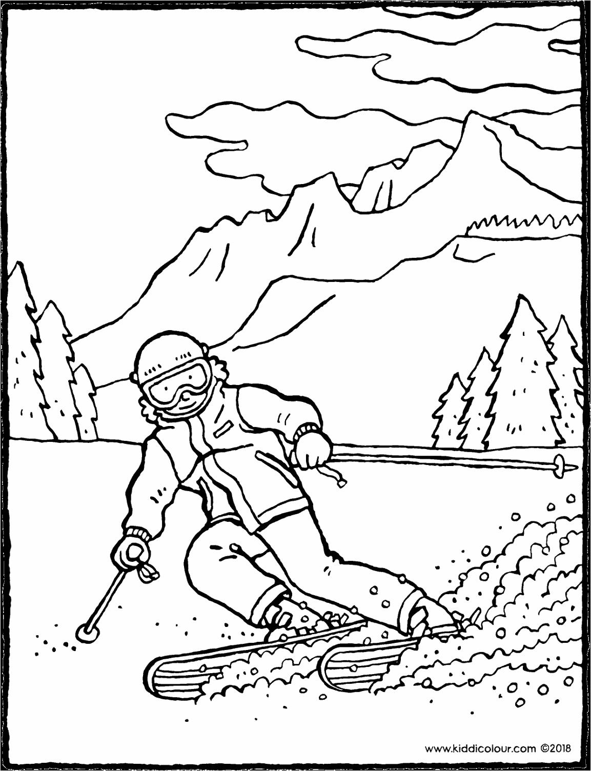 skiën in de bergen kleurplaat kleurprent tekening 01V oyata