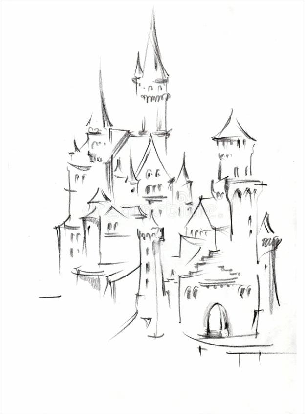 tekening van architecturale structuren het middeleeuwse sprookjekasteel de bergen duitsland cityscape met hand gemaakte schets yrrwu