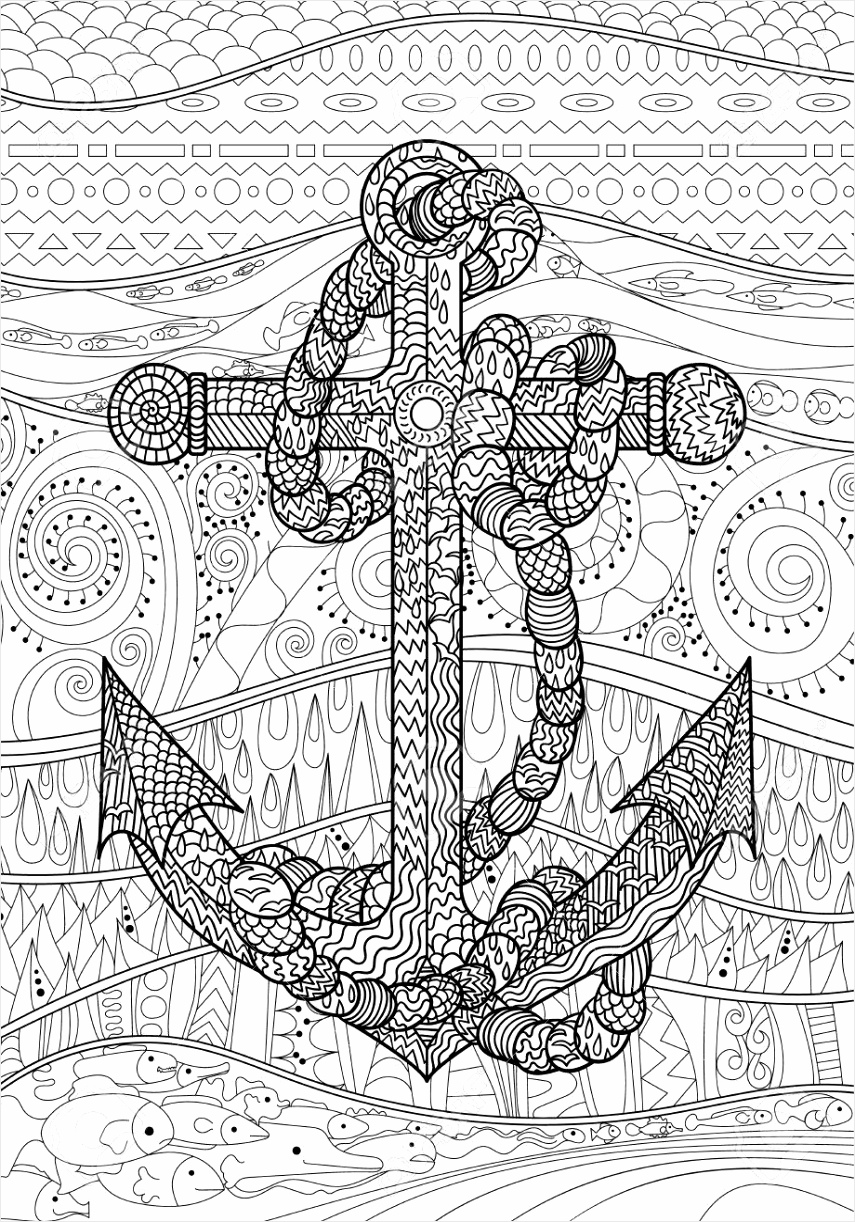 photo stock vector illustration of an anchor and rope coloring page for adults black white object for art therapy abstr tiosw