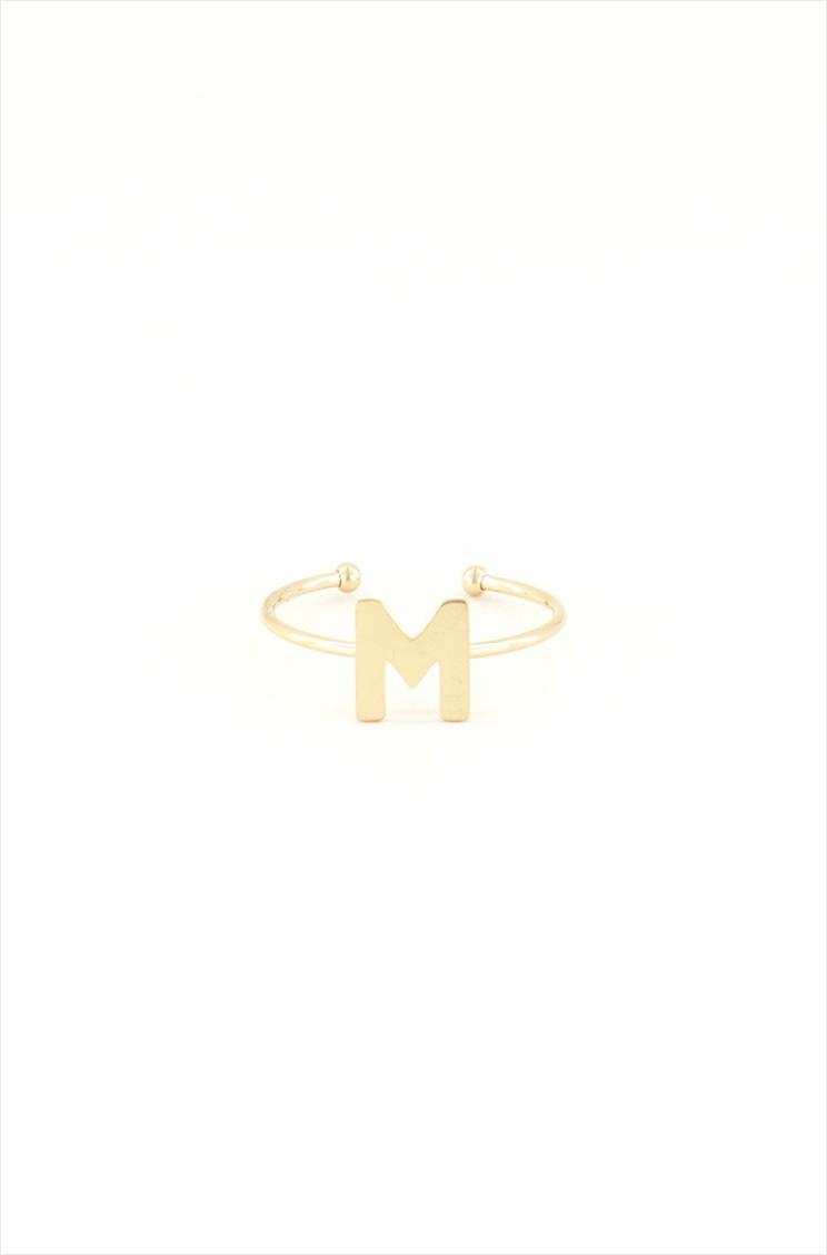 ring open initial uitgesneden vooraanzicht goud oayoy