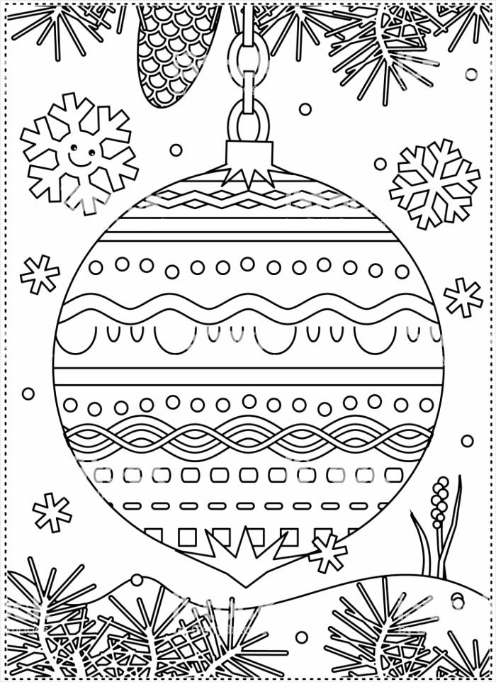 wintervakantie kleurplaat pagina met gedecoreerde sieraad gm iifar