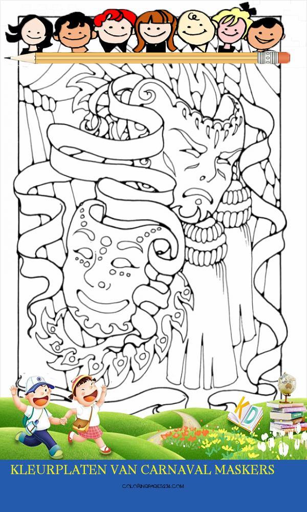 Kleurplaat maskers Gratis kleurplaten om te printen kleurplaten van carnaval maskers, source:schoolplaten.com