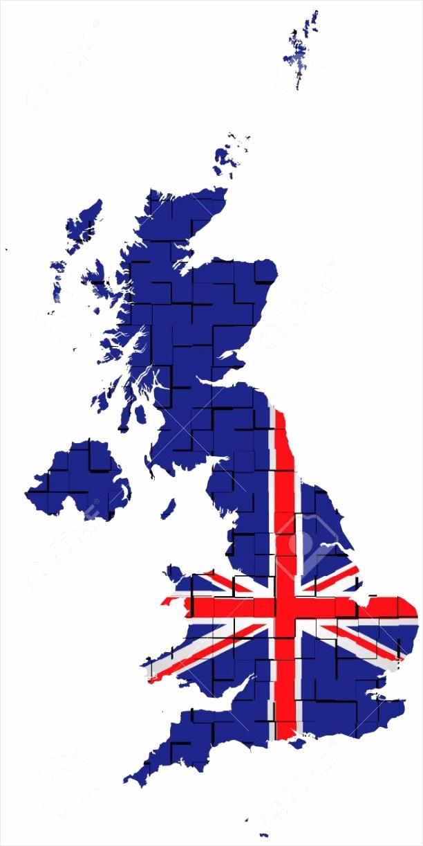 photo vlag van het verenigd koninkrijk van groot brittannië en noord ierland overlay op blinde kaart geïsoleer upyae