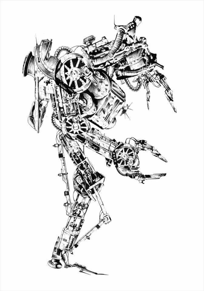 depositphotos stockafbeelding art stijl cyborg tekening illustratie tytio
