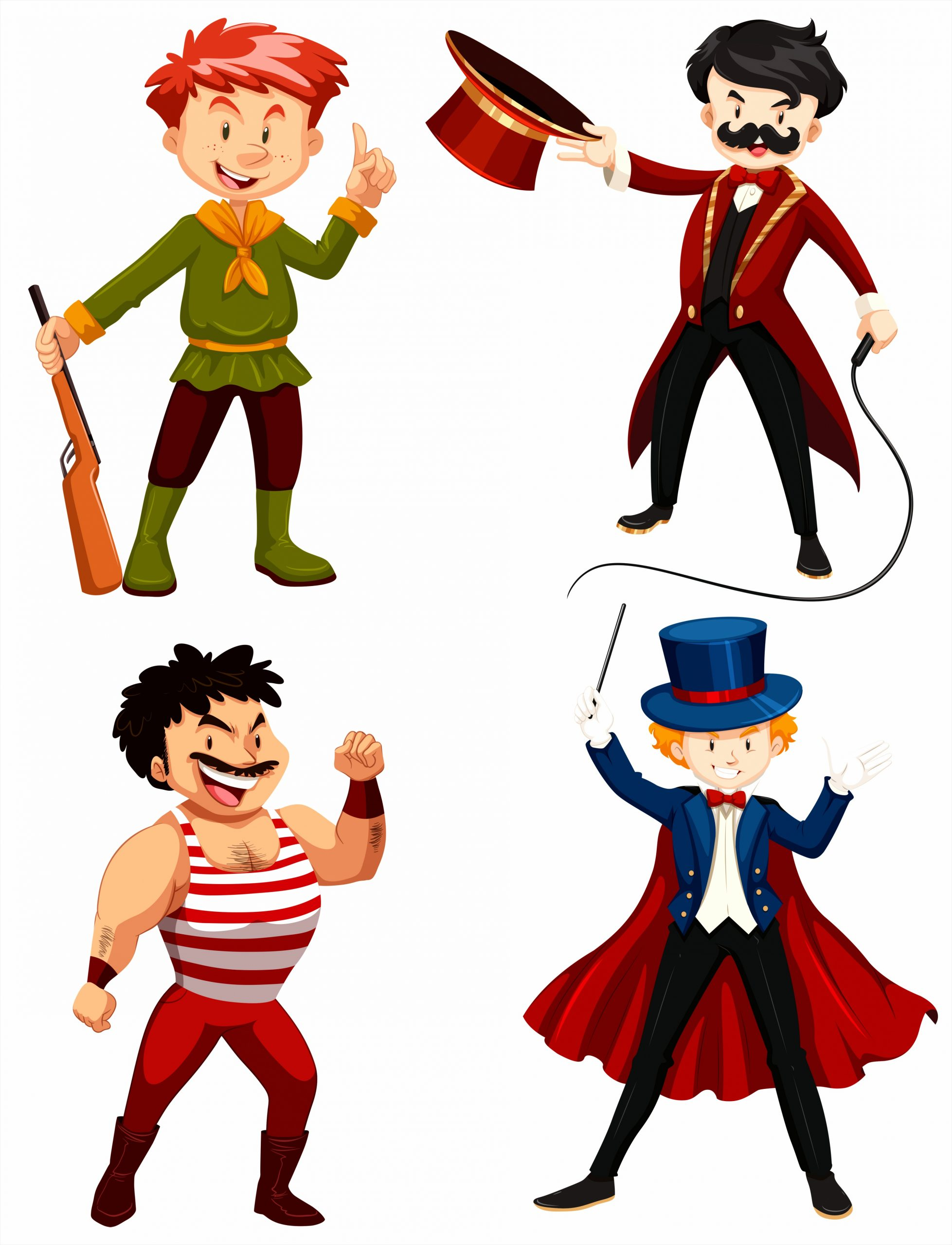 set of circus characters ouvto