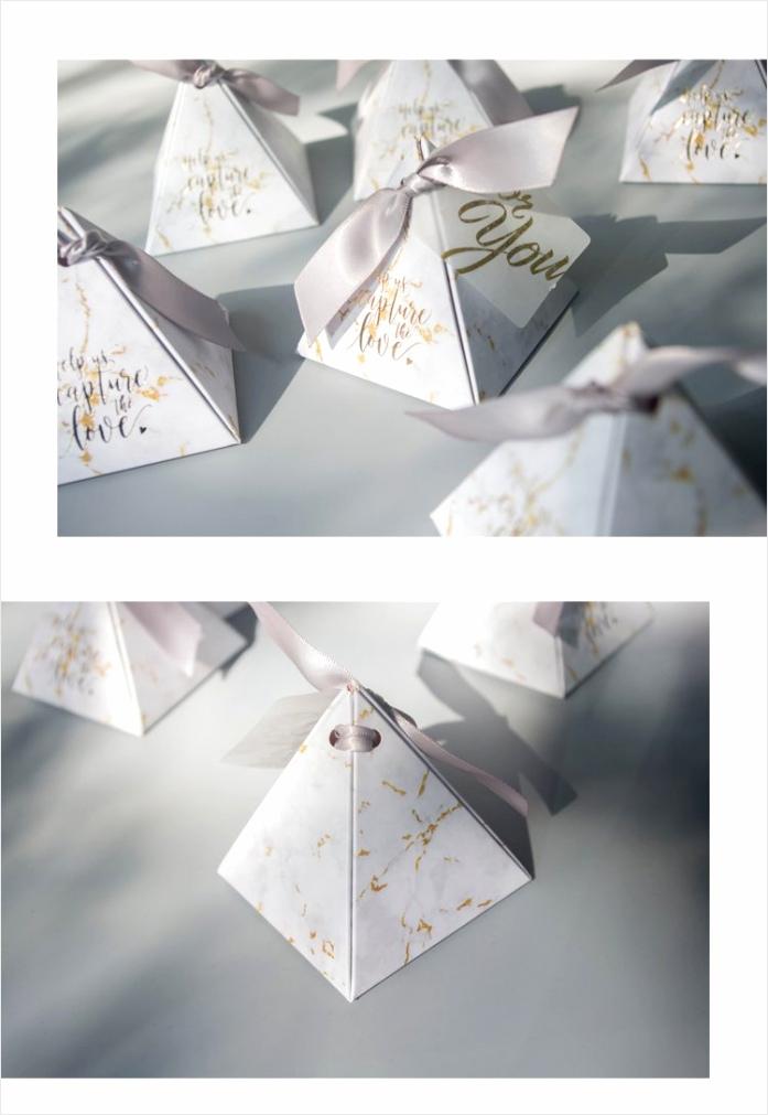 rmtpt 50 stks partij marmer stijl geschenkdoos driehoekige piramide bonbondoos huwelijksgeschenken voor gasten bruiloft decoratie rotir