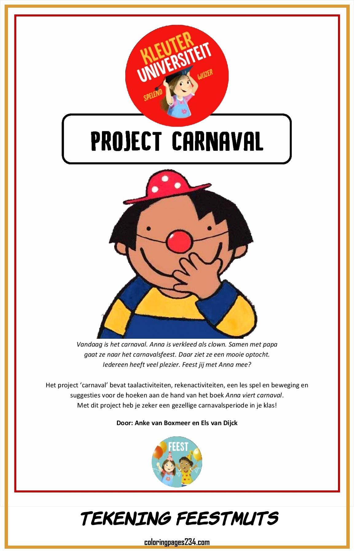Thema carnaval tekening feestmuts, source:jufanke.nl