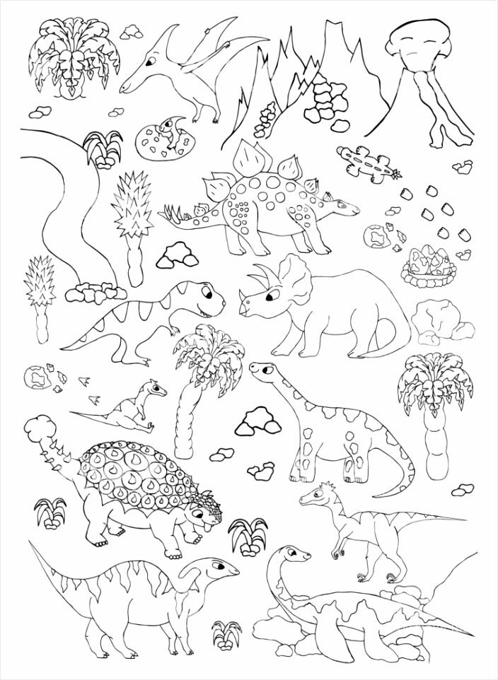 kleurplaten van de hand ekende pagina met schattige vector dinosaurussen gm oyowy