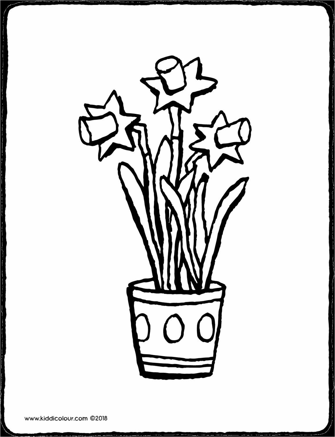 paasbloemen in bloempot narcissen kleurprent kleurplaat tekening 01V iuiou
