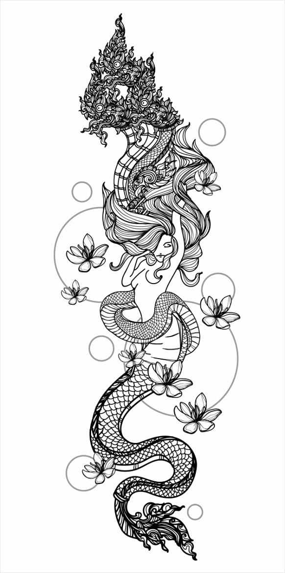 tattoo kunst vrouwen thaise slang patroon literatuur hand tekenen schets 709 toiau