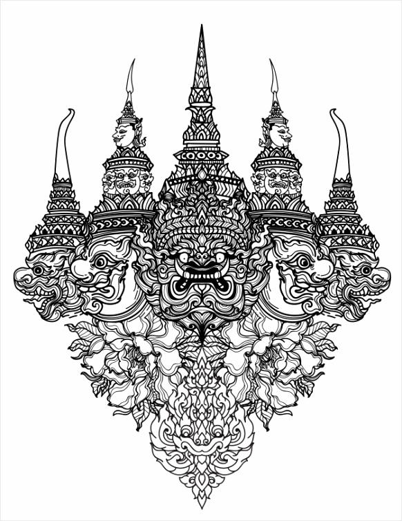 tattoo kunst thaise slang en gigantische patroon literatuur hand tekenen schets 563 oipty