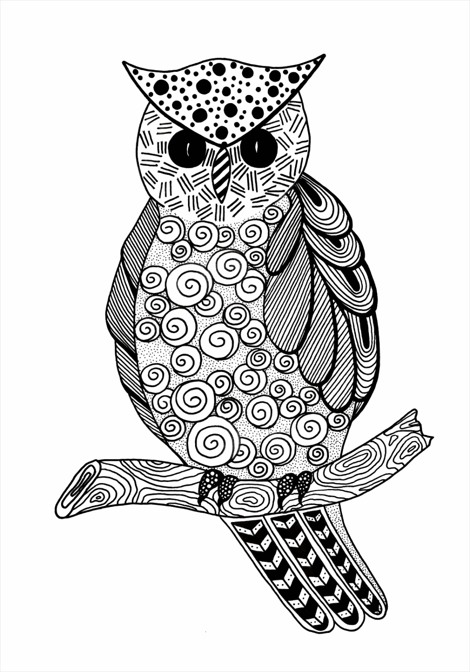 Zentangle Owl Adult Coloring Page Extra 1000 ID aiihi