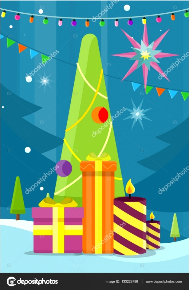depositphotos stock illustration christmas tree with presents and earey