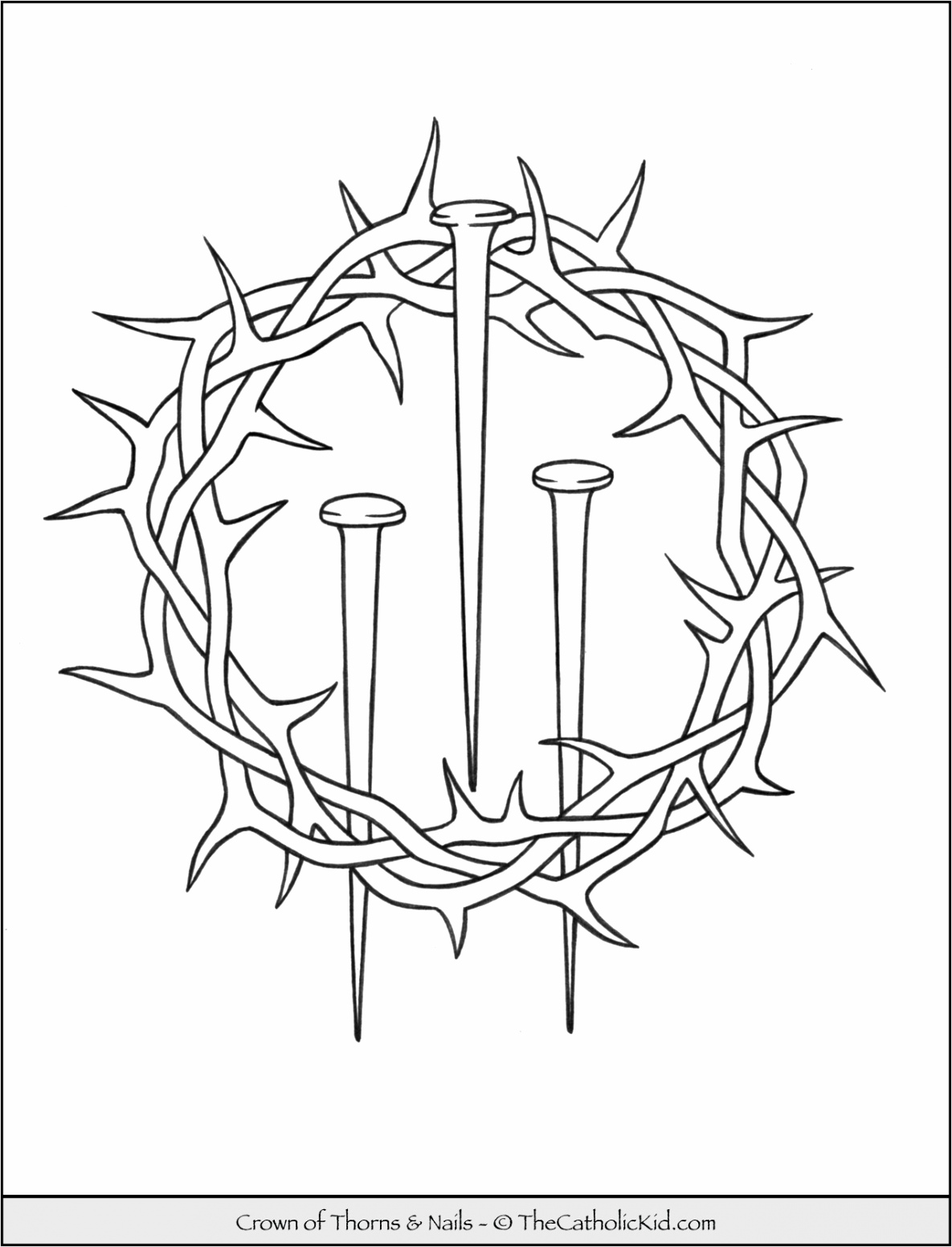 lent coloring pages page crown of thorns nails thecatholickid catholic icing mom pcrrt