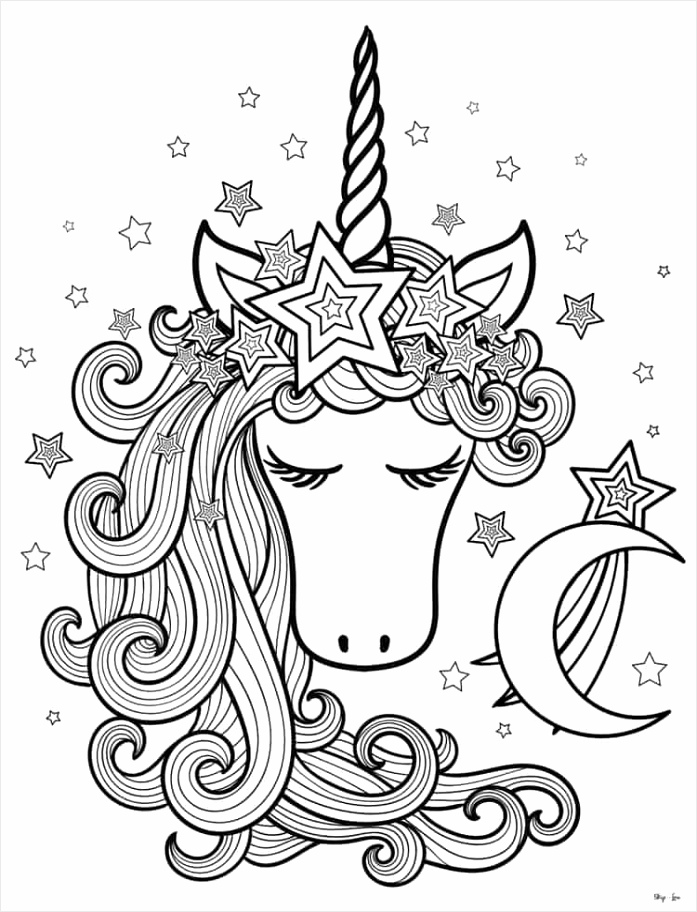 unicorn head with moon coloring page uoqyi