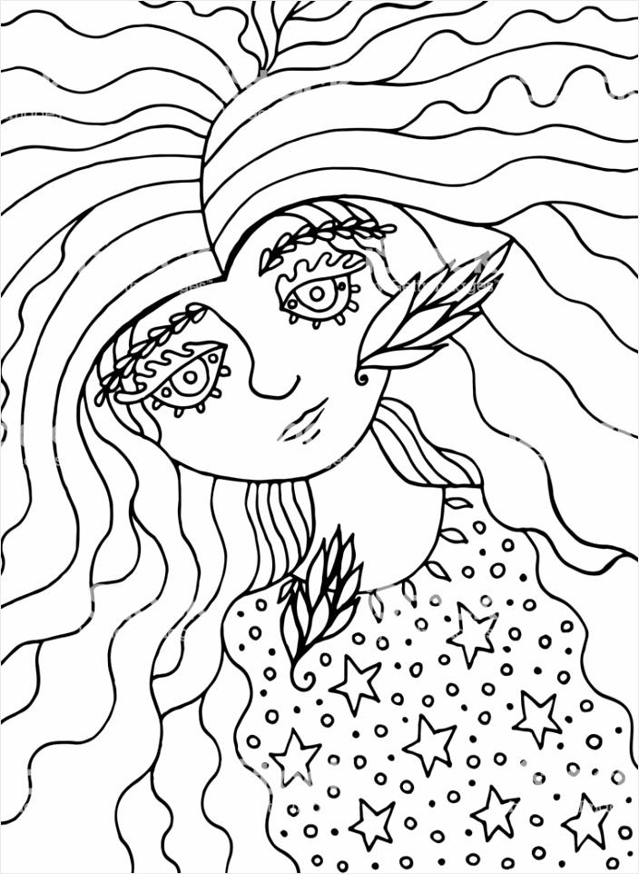 kleurplaat voor volwassenen met schattige sprookje heks meisje inkt lijn doodle gm wettp