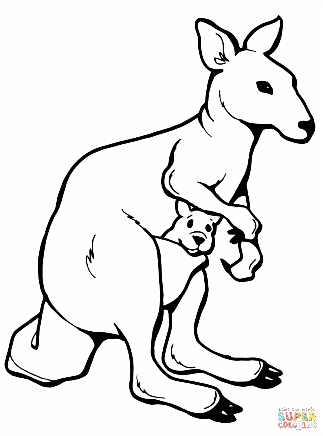 kangaroo with a joey coloring page ietrr