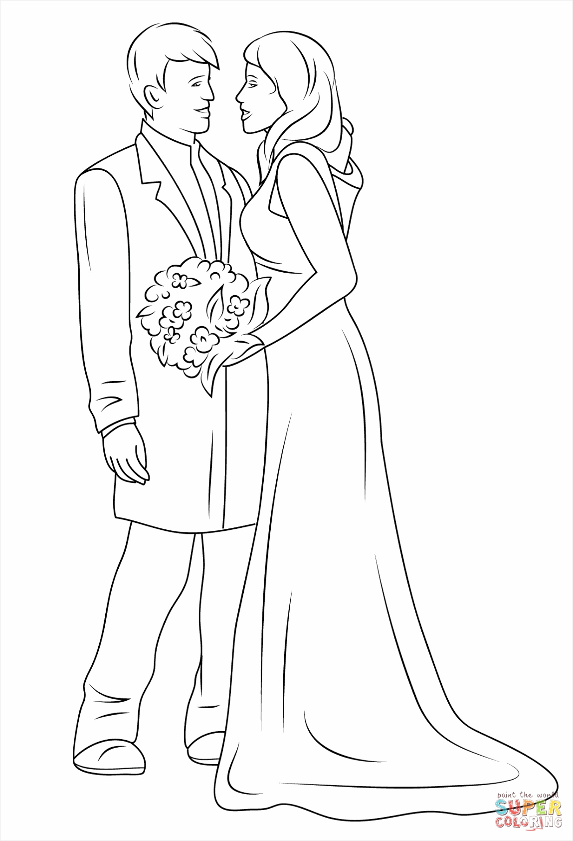 wedding couple coloring page eooag
