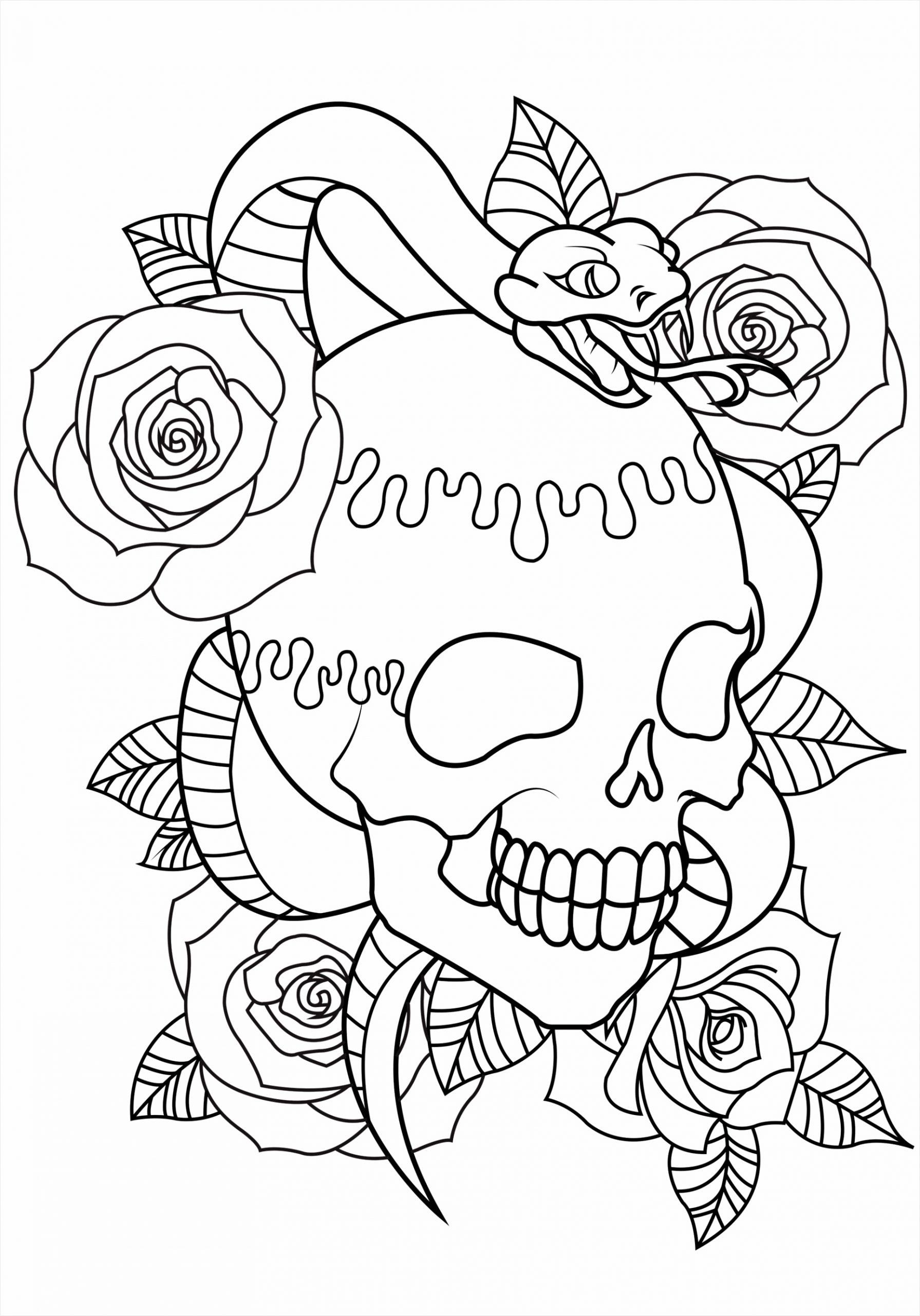 coloring tattoo skull snake piete