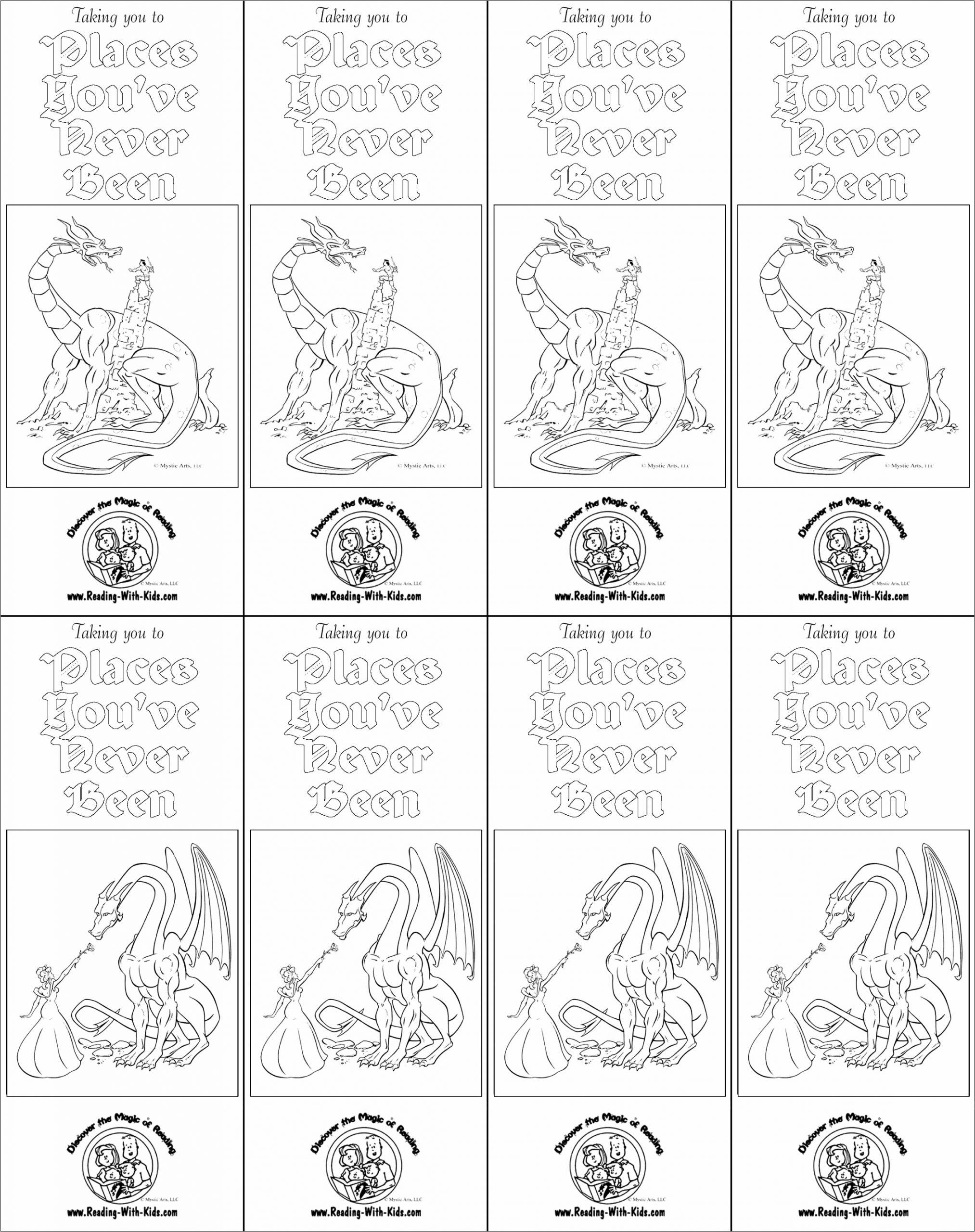 fantasy dragon coloring bookmark piuae