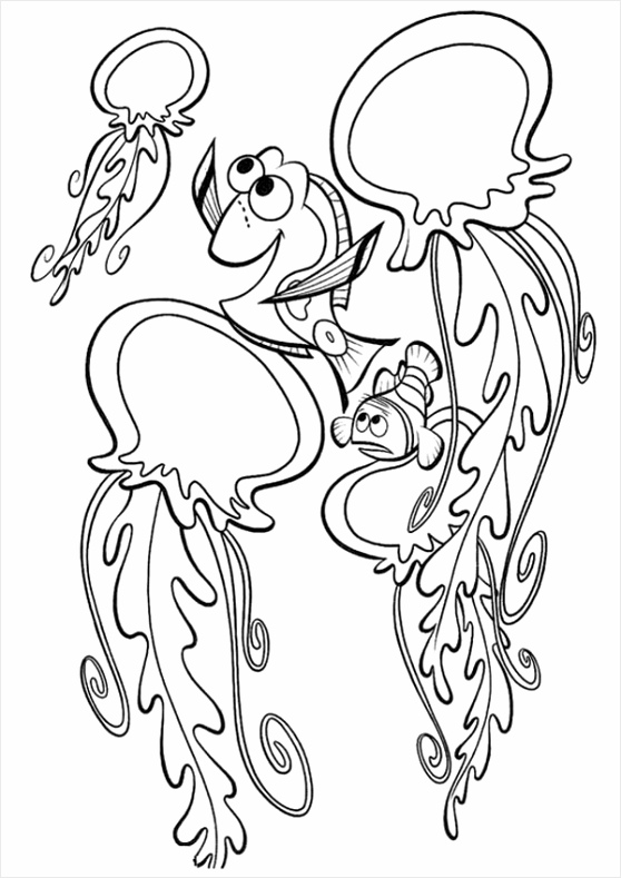 nemo and friends talking to jellyfish coloring page euiut