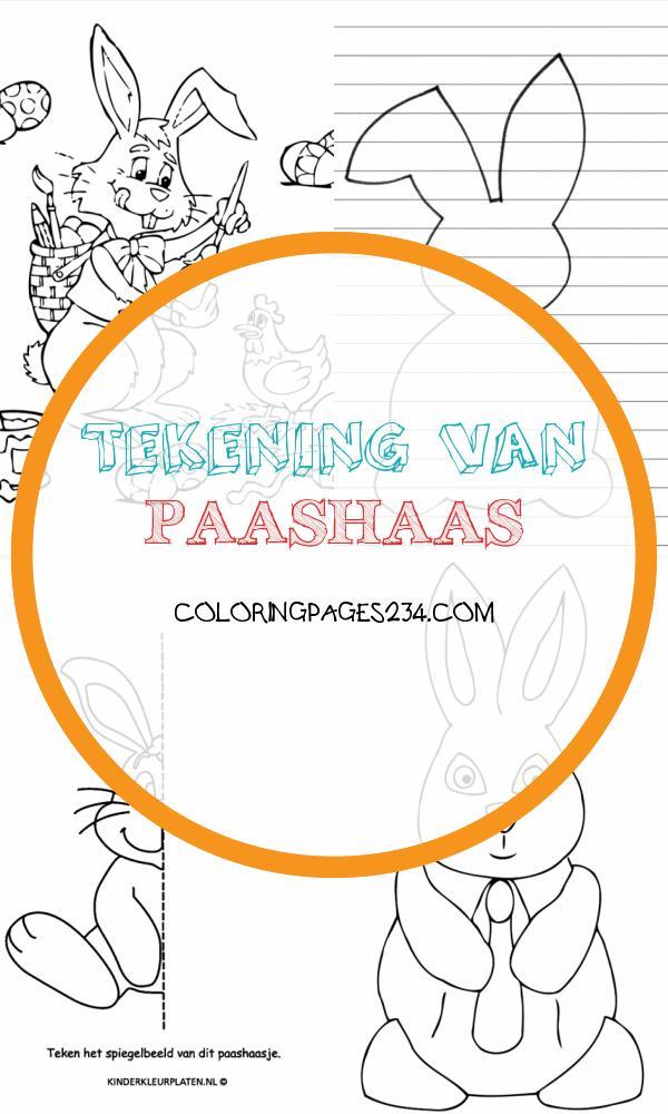 Kleurplaat pasen paashaas SPELLETJES tekening van paashaas, source:m.kinderkleurplaten.nl