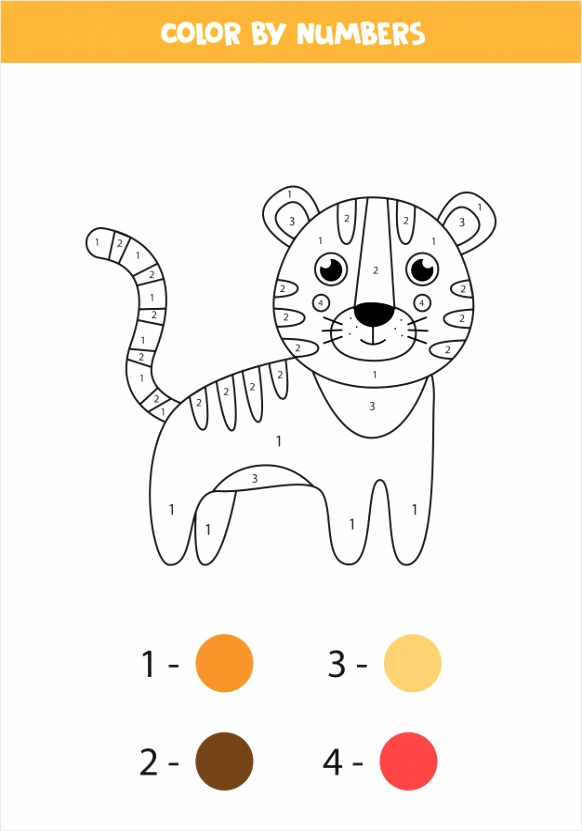 coloring page with cute cartoon tiger worksheet kids 674 rtyio