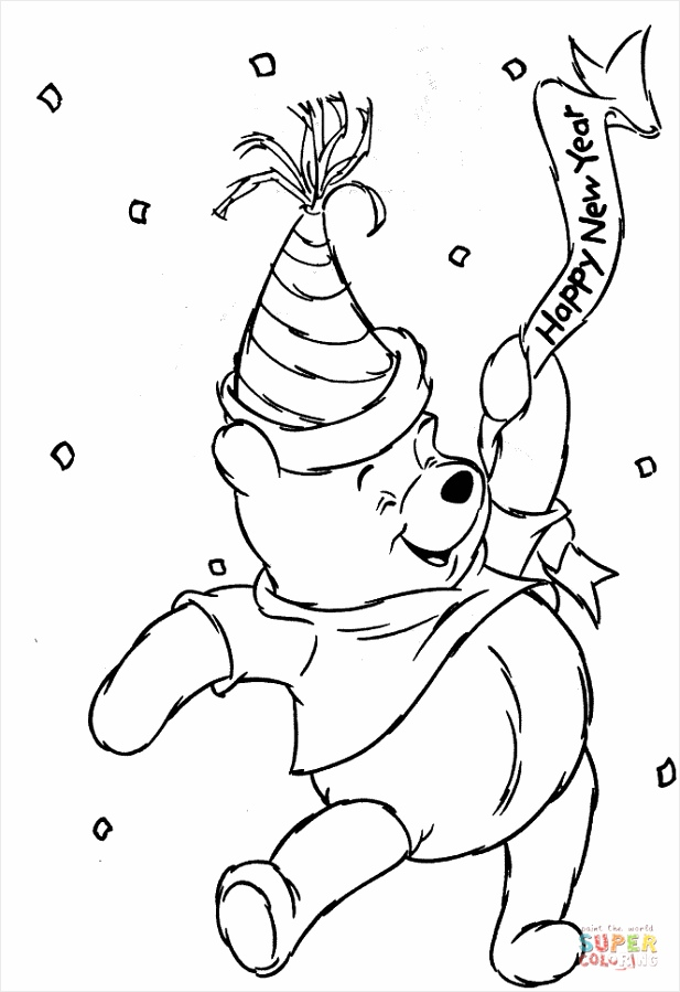winnie the pooh new year drawings pooh in new year coloring page uwuyn