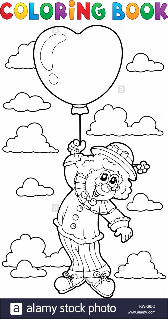 stock photo coloring book clown with balloon eps10 vector illustration tiwer