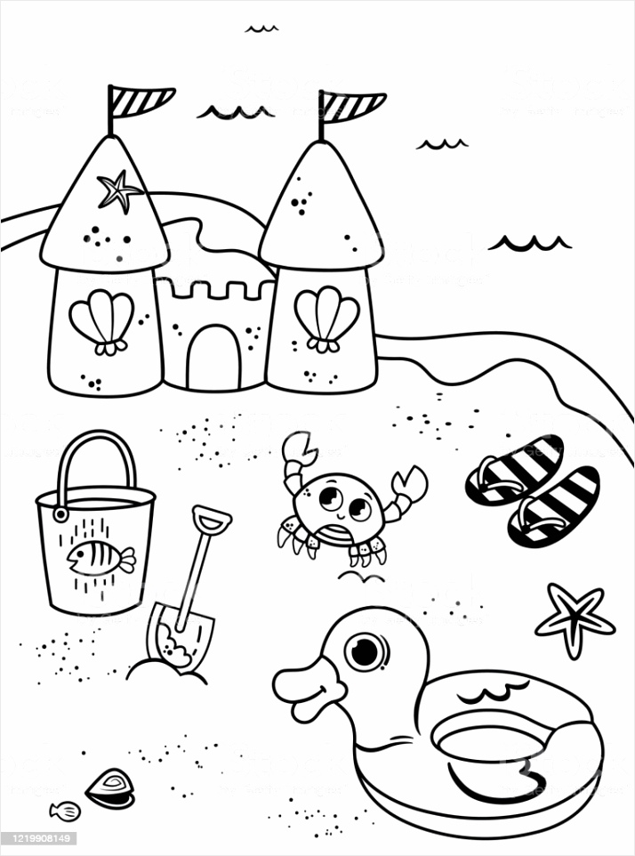 coloring page for kids in beach theme vector illustration gm uwret