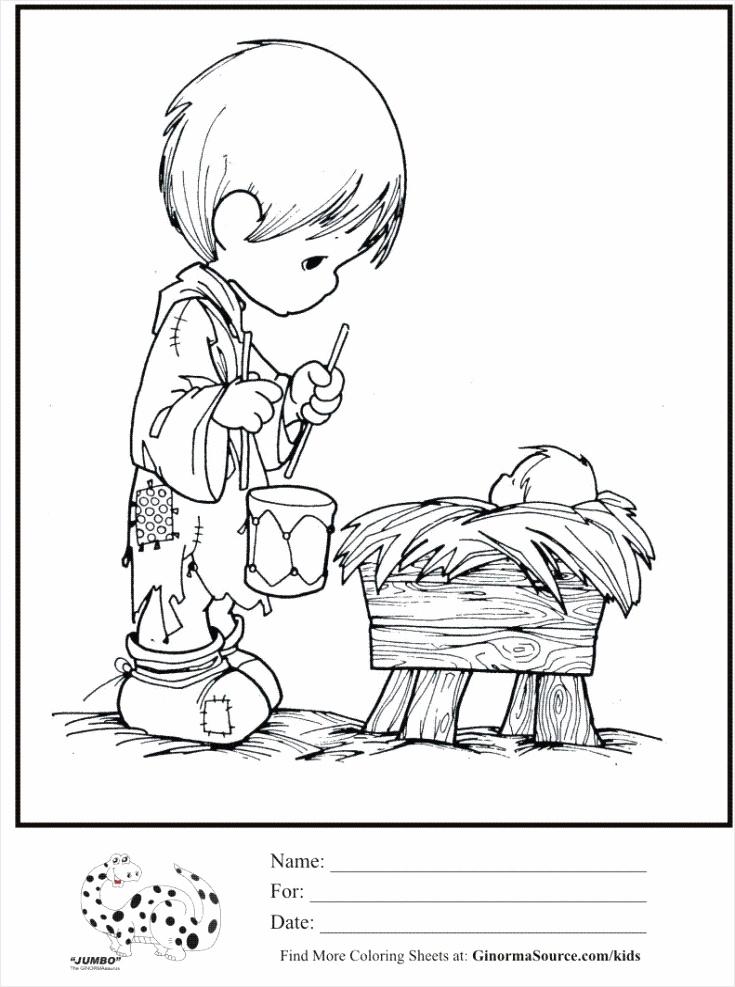 kids coloring page precious moments little drummer boy baby jesus coloring sheet eueiu