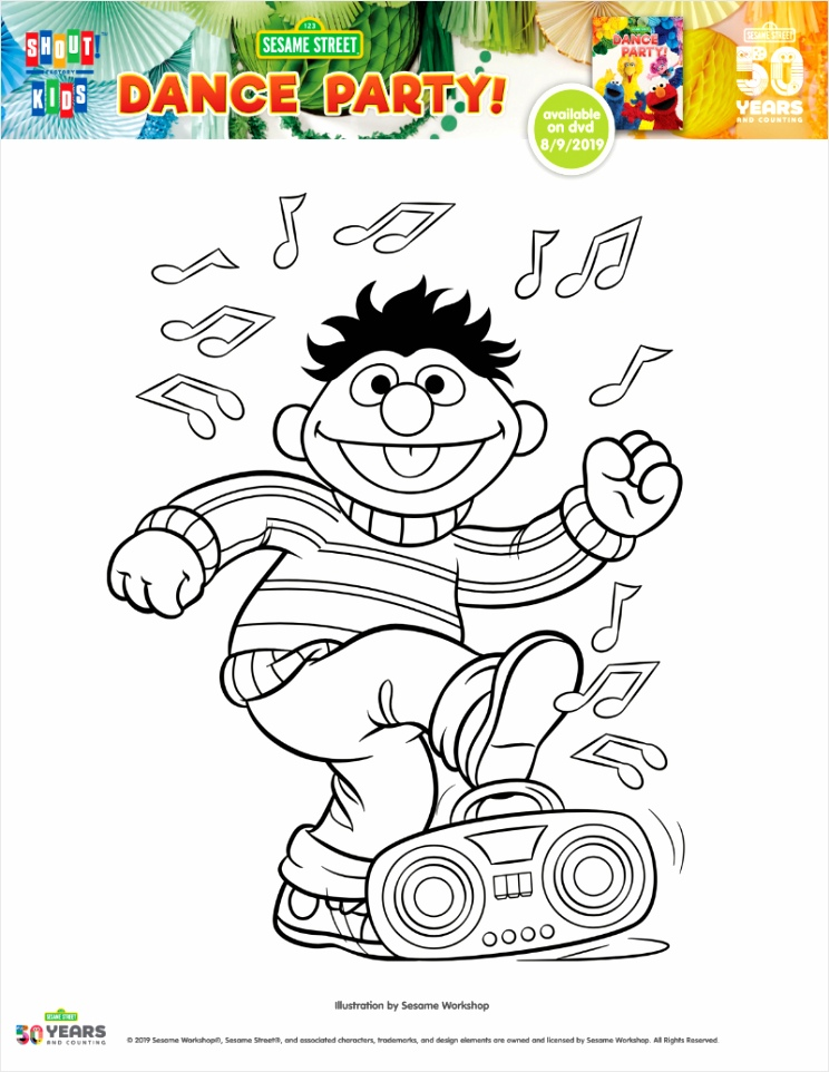 pin ernie dance party coloring page weioj