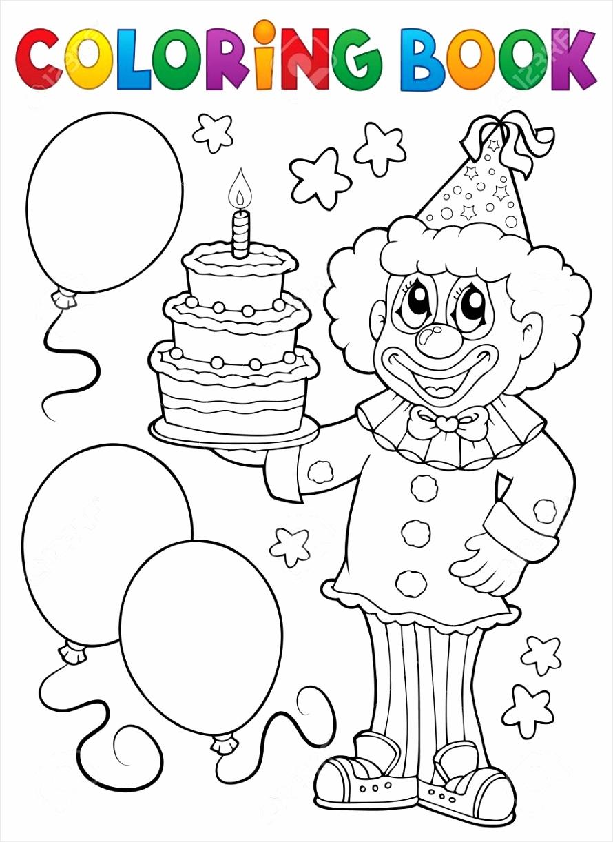 photo stock vector coloring book clown holding cake putaa