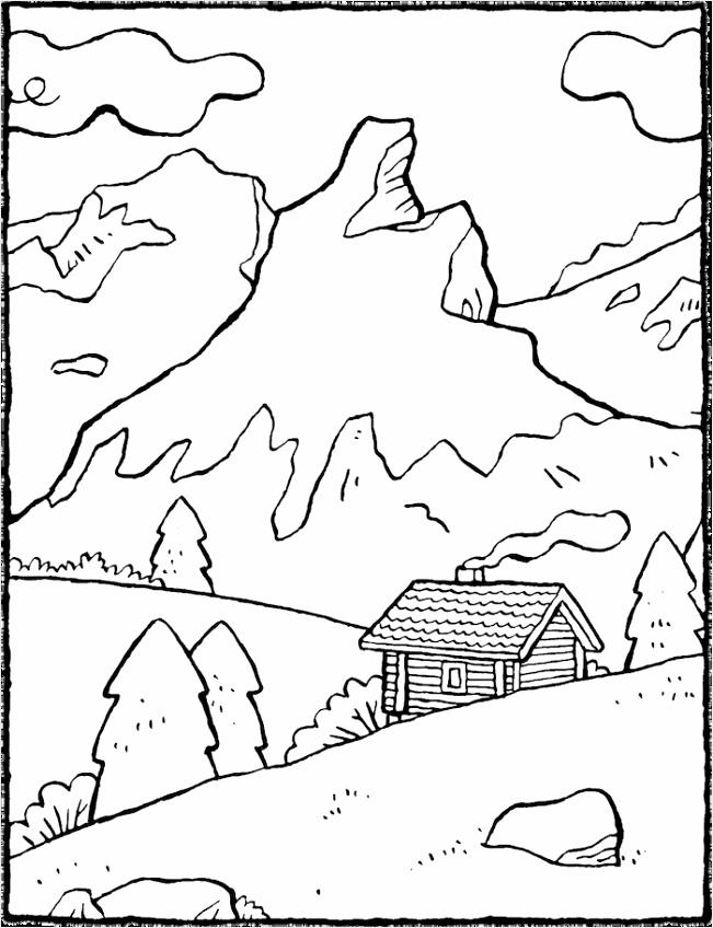 berglandschap kleurplaat kleurprent tekening 01V iyuot