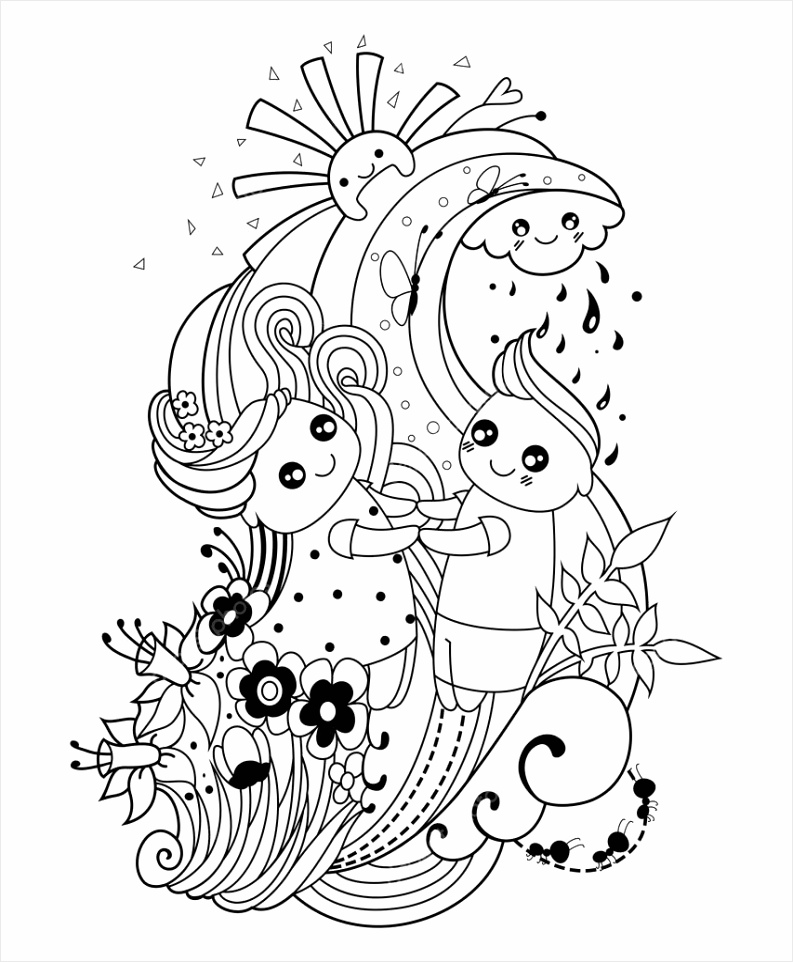 depositphotos stock illustration adult coloring page with boy teree