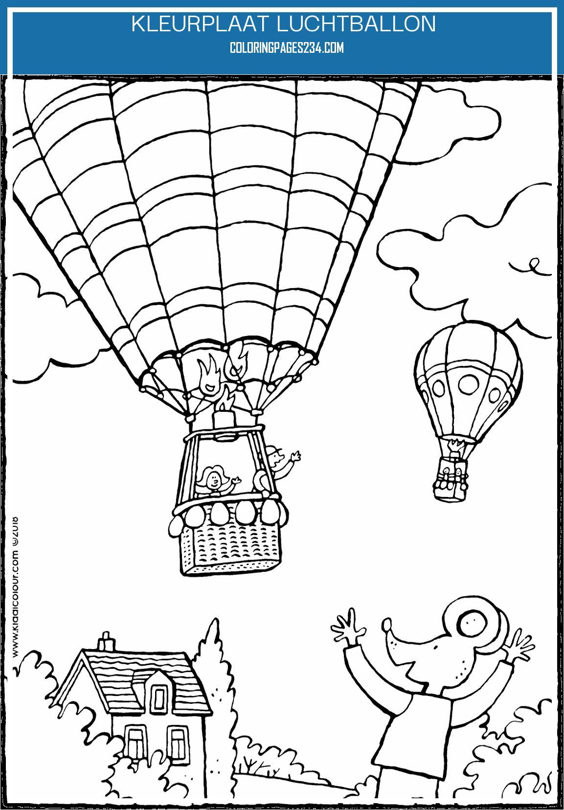 Lowie zwaait naar een luchtballon kiddicolour kleurplaat luchtballon, source:kiddicolour.com