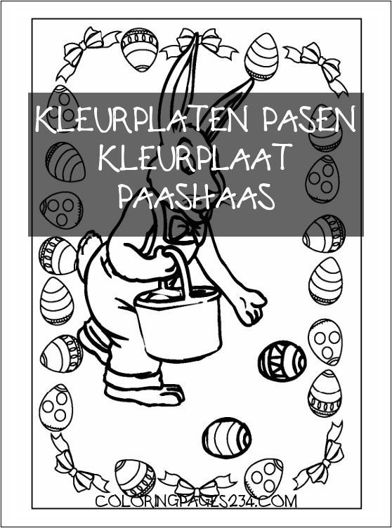 1001 KLEURPLATEN Seizoen Pasen Kleurplaat Paashaas kleurplaten pasen kleurplaat paashaas, source:1001kleurplaten.nl