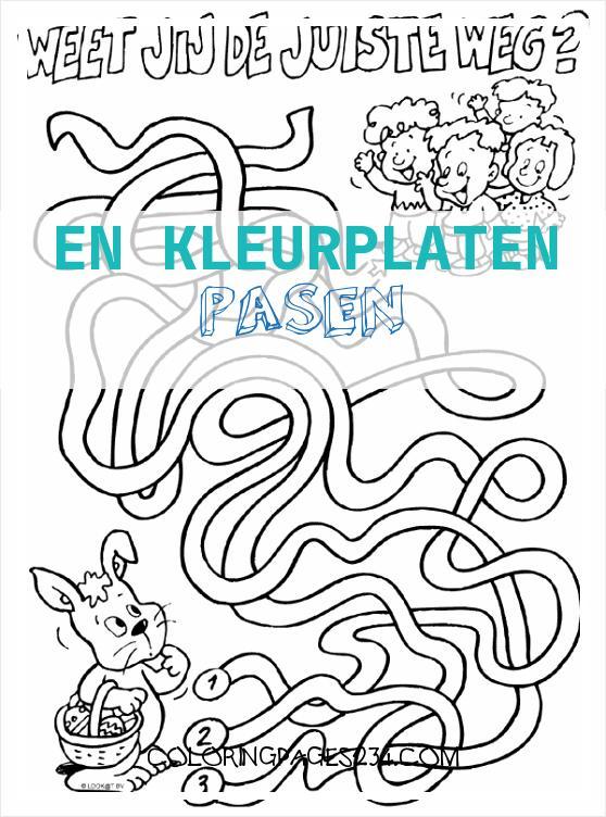 Kleurplaat Pasen DOOLHOF Kleurplaten en kleurplaten pasen, source:kleurplaten.nl
